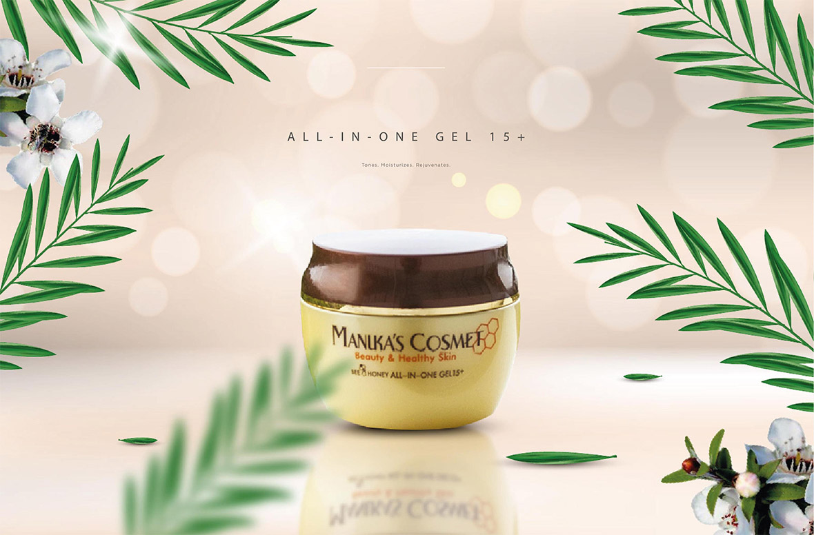 Manuka Honey Infused All In One Gel - 360 degree face moisturiser, cleaner and lotion