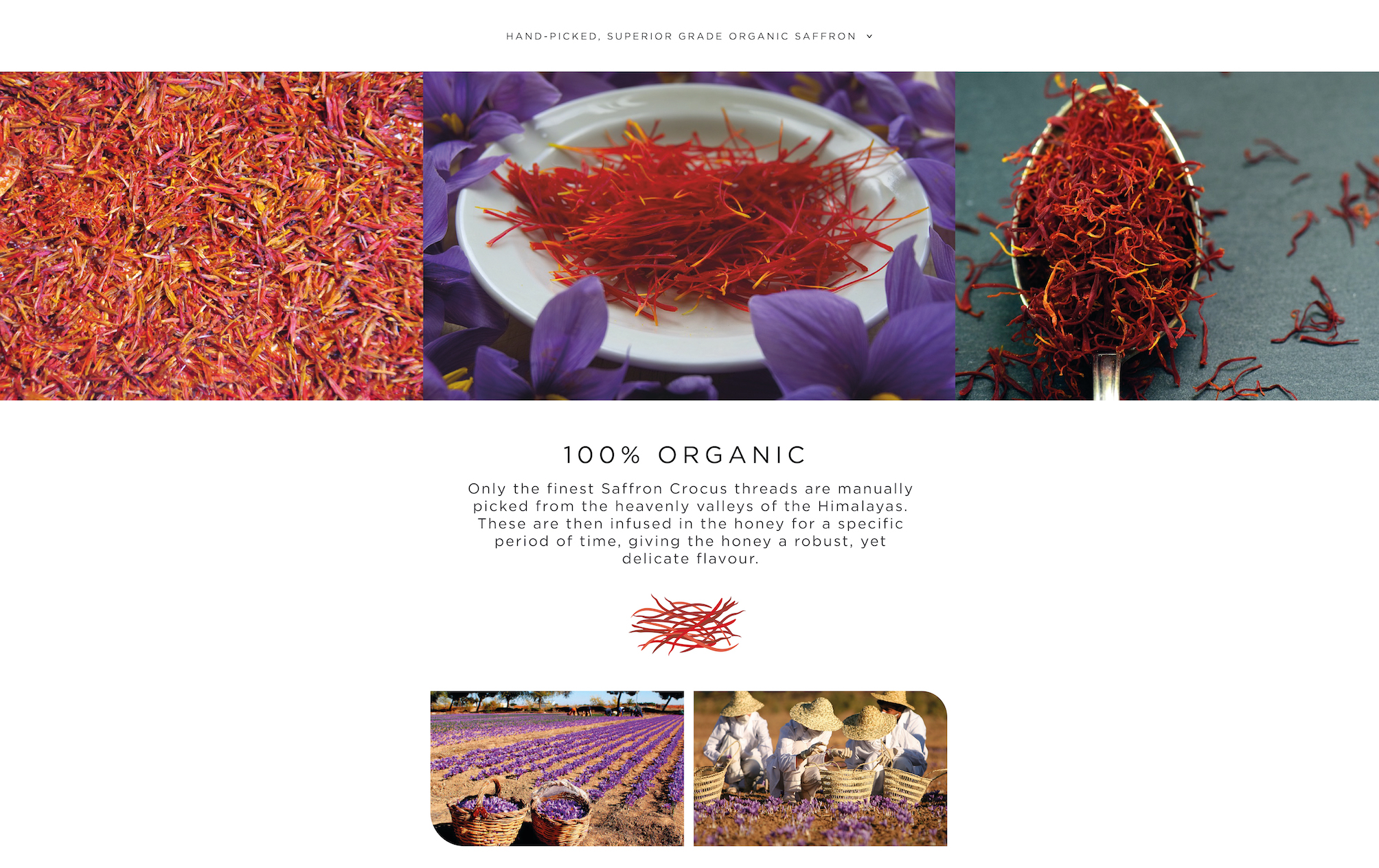 Organic Saffron Honey. Only the finest Saffron Crocus threads are manually picked from the heavenly valleys of the Himalayas. These are then infused in the honey for a specific period of time, giving the honey a robust, yet delicate flavour.